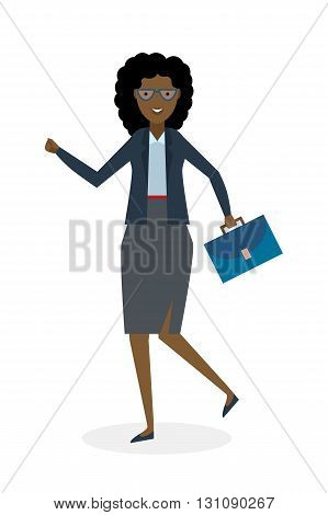 Businesswoman running on white background. Isolated cartoon character. African american businesswoman with suit case. Successful achievement. Active work. Fast lifestyle.