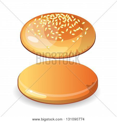 Empty hamburger bun with sesame seeds on white background. Isolated cheesburger roll. Incomplete, blank.