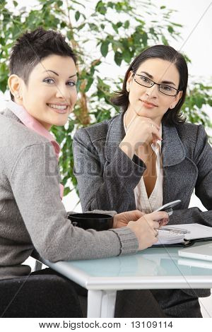 Young businesswomen sitting at office desk, having a business meeting, looking at camera, smiling.