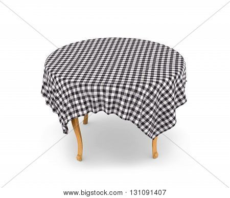 Dining table with tableclothe. 3d illustration isolated on white background