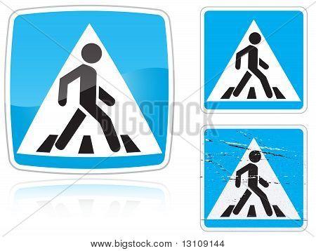 Set Of Variants A Crosswalk Road Sign