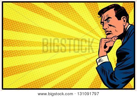 Pensive man retro background thinker pop art retro vector. Pop art thinker on retro background