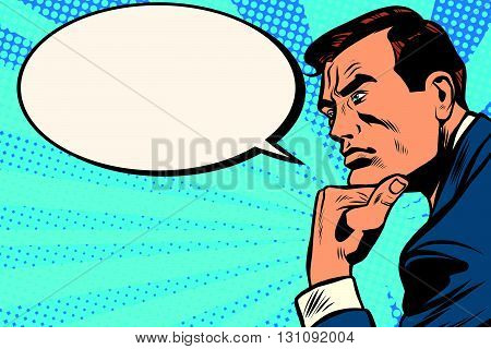 Thinker profile comic bubble pop art retro vector. Retro man thinks. Businessman idea