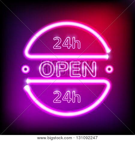 Neon glowing frame on dark violet background. Retro club inscription Open around the clock. 24 hour. Vector illustration. EPS 10
