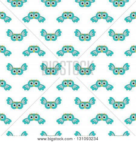 Owlet turquoise vector seamless pattern. vector illustration owl.