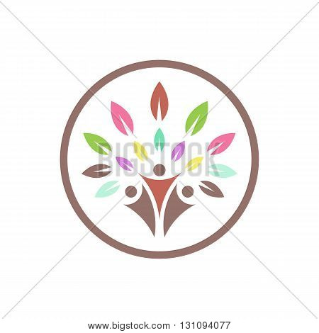 Group of people embracing tree or nature inside circle vector illustration isolated on white background.