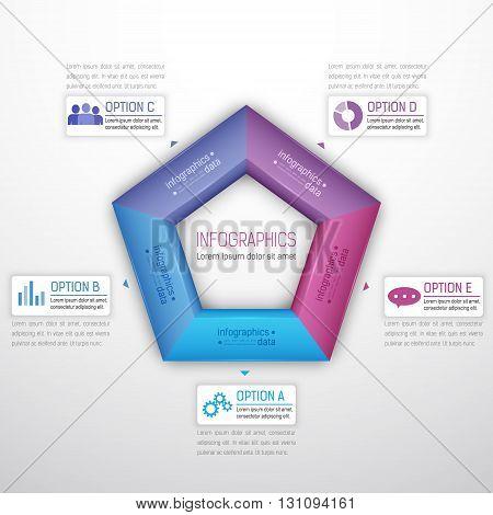 Colorful pentagonal infographics modern elements. Vector illustration