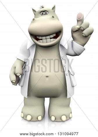 A smiling cartoon hippo dressed as dentist holding up his finger. 3D rendering. White background.