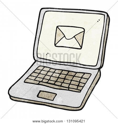 freehand textured cartoon laptop computer with message symbol on screen