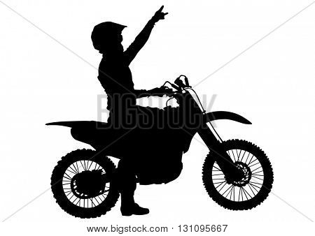 Man on sports bike on white background