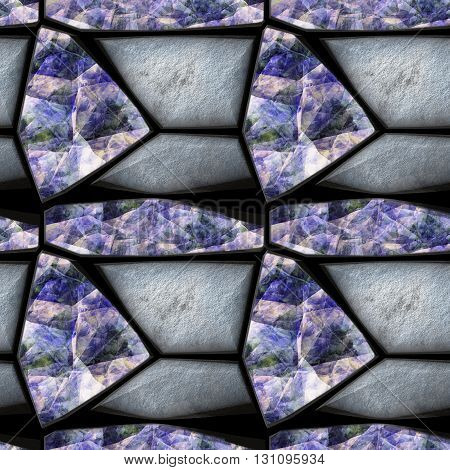 Abstract seamless relief pattern of silver stones and rainbow crystals. Background of grained triangular sharp stones and blue, pink and green opalescent gemstones