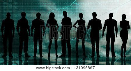 Business Executives Standing Against the Background as Art 3D Illustration Render