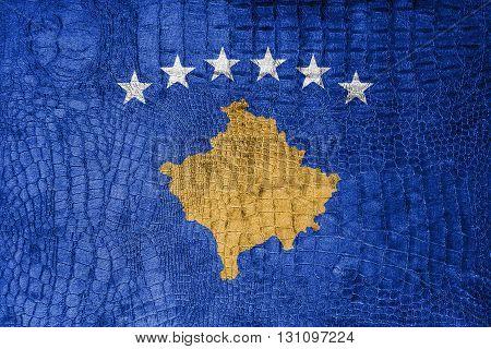 Flag of Kosovo on a luxurious fashionable canvas poster