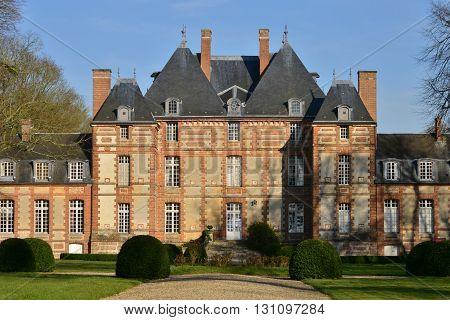 Fleury la Foret France - march 15 2016 : the castle of 17 th century