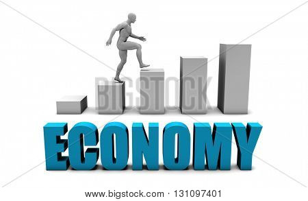 Economy 3D Concept  in Blue with Bar Chart Graph 3D Illustration Render