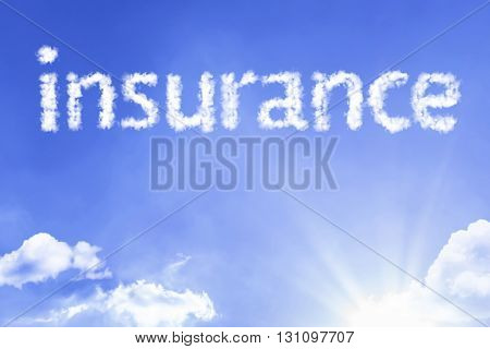 Insurance cloud word with a blue sky