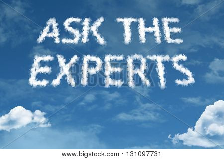 Ask the Experts cloud word with a blue sky