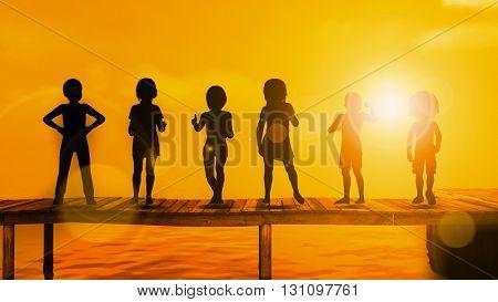 Children Playing Silhouette Against the Setting Sun 3D Illustration Render
