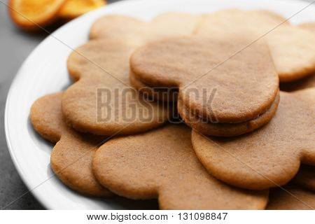 Heart shaped biscuits on plate, closeup