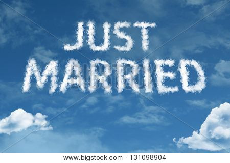 Just Married cloud word with a blue sky