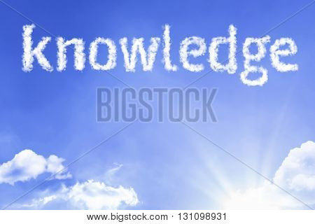 Knowledge cloud word with a blue sky