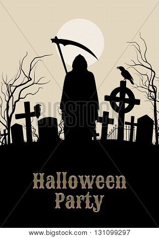 Halloween party illustration- silhouette of black scary scytheman standing on ancient necropolis with crosses over gray sky and white moon