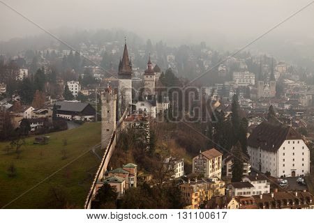Musegg Wall and Towers in Luzern Switzerland