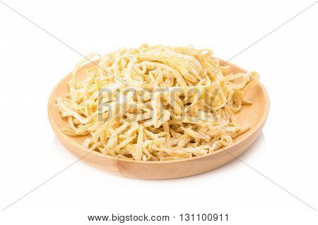 Egg noodles, Egg noodles on a white background.