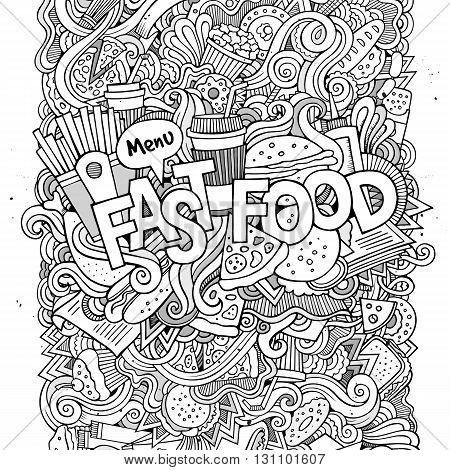 Fast food hand lettering and doodles elements background. Vector illustration