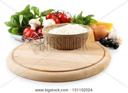 Ingredients for cooking pizza isolated on white