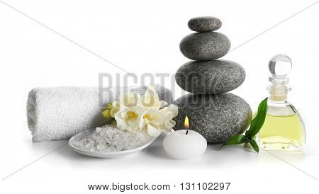 Spa still life with pebbles isolated on white