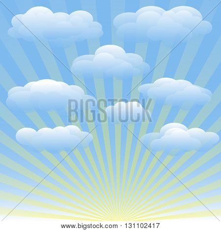 Vector set of clouds blue sky sunrays. Transparent gradient vector background for booklets brochures fliers websites banners. Cloudy weather sunny summer day