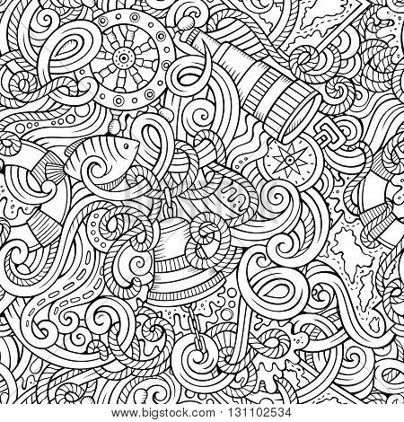 Cartoon hand-drawn nautical doodles seamless pattern. Detailed line art, with lots of objects vector background