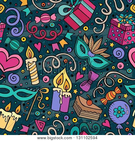 Cartoon hand-drawn doodles on the subject holidays, birthday theme seamless pattern. Colorful detailed, with lots of objects vector background