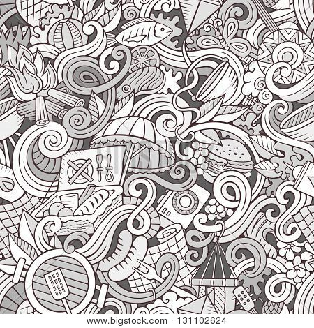 Cartoon hand-drawn picnic doodles line art seamless pattern. Detailed, with lots of objects vector background