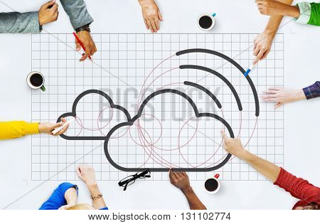 Cloud Computing Network Digital Information Concept