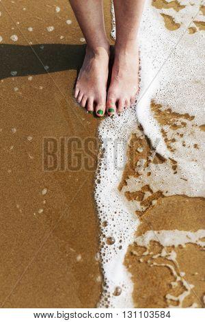 Woman Wellness Beach Calm Coast Shore Girl Concept