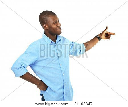 Handsome African American man isolated on white