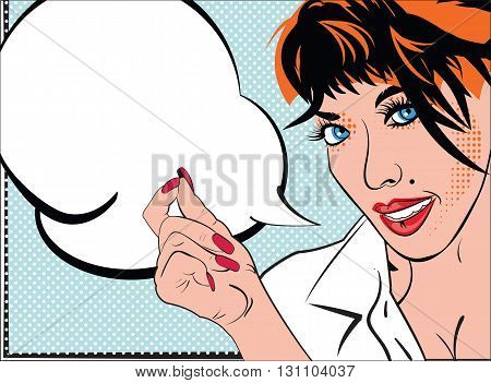 Portrait of girl in style pop art fashion art for comic books sketch card invitation. Pretty lady portrait blue frame and speech bubble for text vector illustration.