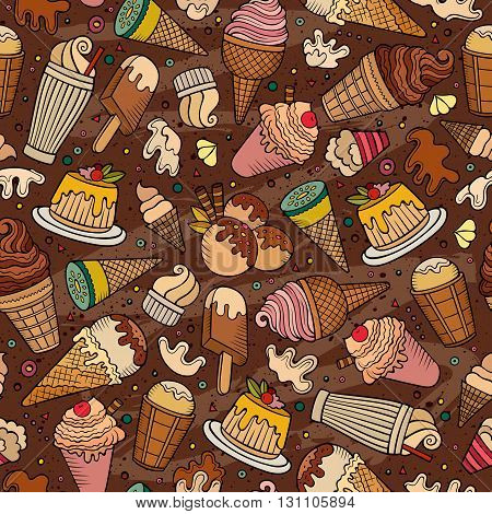Cartoon hand drawn ice cream doodles seamless pattern. Colorful detailed, with lots of objects vector background