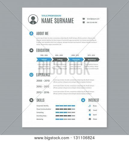 Vector resume cv a4 letter on white. Business document template.