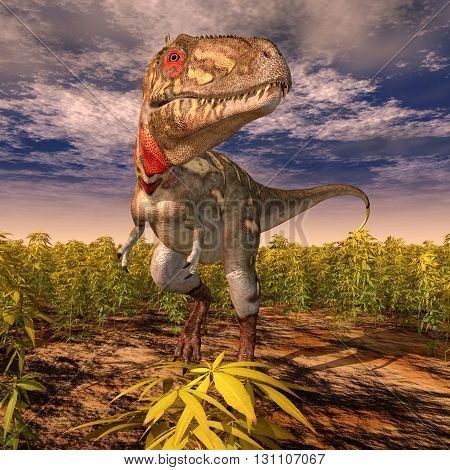 Computer generated 3D illustration with the dinosaur Nanotyrannus