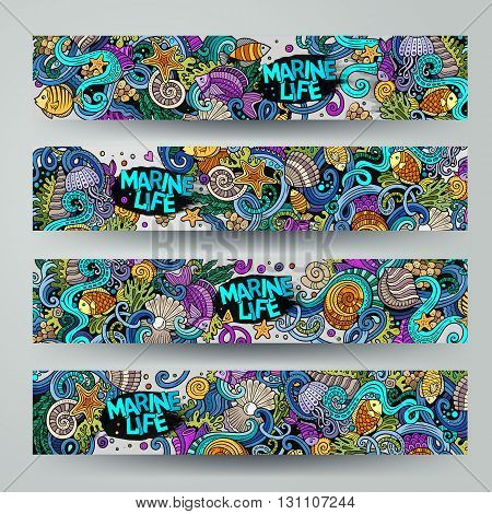 Cartoon vector hand-drawn underwater life, marine doodle corporate identity. 4 Horizontal banners design. Templates set