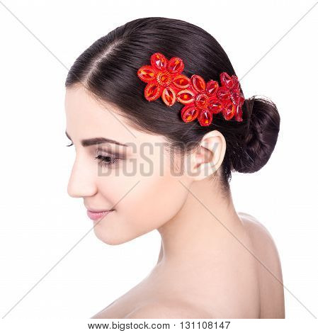 Close Up Portrait Of Young Woman With Beautiful Accesory In Hair Isolated On White
