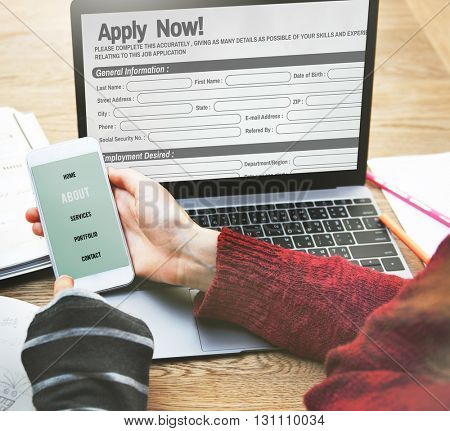 Online Web Job Application Form Concept