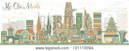 Abstract Ho Chi Minh Skyline with Color Buildings. Business Travel and Tourism Concept with Modern Buildings. Image for Presentation Banner Placard and Web Site.