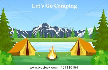 Vector flat web banner on the theme of Climbing, Trekking, Hiking, Walking. Sports, Camping, outdoor recreation, adventures in nature, vacation. vector illustration in flat design