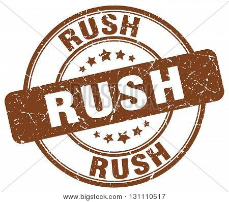 Rush Brown Grunge Round Vintage Rubber Stamp.rush Stamp.rush Round Stamp.rush Grunge Stamp.rush.rush