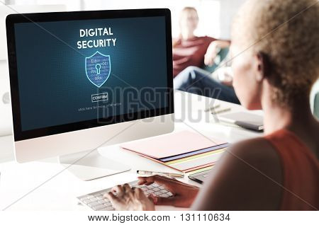 Digital Security Privacy Online Security Protection Concept