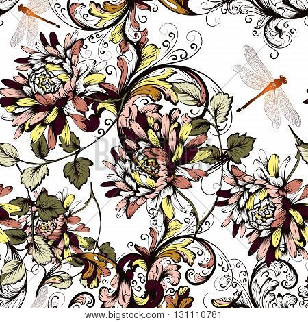 Floral seamless background with hand drawn flowers vintage style